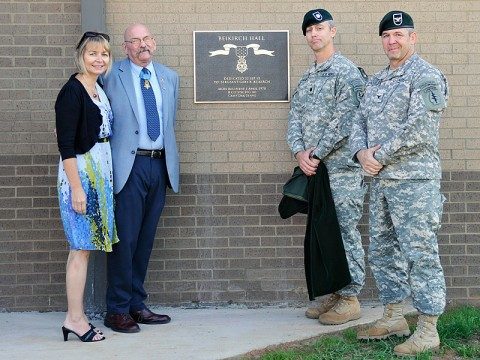 Col. Scott Brower, commander of the 5th Special Forces Group (Airborne), and Lt. Col. John R. Dyke, commander of 2nd Battalion, 5th SFG (A), join Mr. Gary Beikirch, Medal of Honor recipient and former member of the 5th SFG, and his wife Loreen, in front of a plaque recognizing the newly dedicated Beikirch Hall, the headquarters for 2nd Bn., 5th SFG (A), Sept. 22, 2012. (Photo courtesy of the U.S. Army)