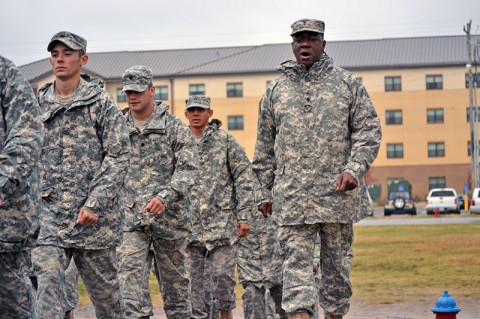 Spc. Tariq Muhammad, a fueler with Company A, 563rd Aviation Support Battalion, 159th Combat Aviation Brigade, keeps troops in step during the Warrior Leader Course at the Staff Sgt. John W. Kreckel NCO Academy at Fort Campbell, KY, Oct. 7th. Numerous soldiers of the 159th CAB have graduated on the Commandant's List in the last four consecutive classes. (U.S. Army photo by Spc. Jennifer Andersson)