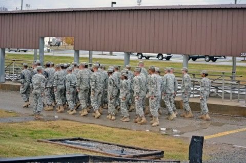 Soldiers practice Drill and Ceremony during the Warrior Leader Course at the Staff Sgt. John W. Kreckel NCO Academy at Fort Campbell, KY, Oct. 7th. Numerous soldiers of the 159th CAB have graduated on the Commandant's List in the last four consecutive classes. (U.S. Army photo by Spc. Jennifer Andersson)