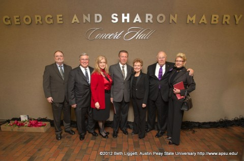 Dr Kenneth Lee, APSU President Tim Hall, Lee Hall, George Mabry, Sharon Mabry, Evans Harvill, and Sherri Harvill
