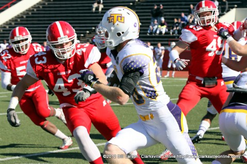 Austin Peay Governors Football's defense comes up big in the 4th quarter to stop Tennessee Tech's comeback.