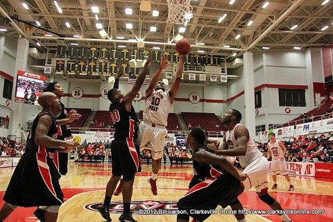 APSU Will Triggs goes up and scores two of his 17 points on the night.