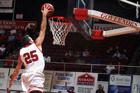 APSU Governor's Anthony Campbell goes up for a dunk during a game at the Dunn Center. (Courtesy: Keith Dorris/Dorris Photography)