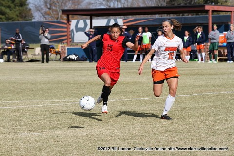 APSU Junior Tatiana Ariza breaks downfield in the OVC Championship Game against UT Martin.