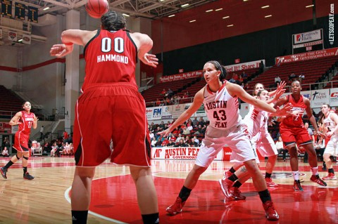 Austin Peay Senior Meghan Bussabarger led the Lady Govs with 20 points in Friday night's loss at UTSA. (Courtesy: Brittney Sparn/APSU Sports Information)