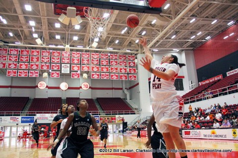 APSU Senior Leslie Martinez puts one up underneath to score 2 of her 20 points on the night. APSU Women's Basketball.