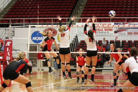 APSU senior Alex Sain getting one of her career-high 18 kills on the evening. Sain also had 25 digs and eight blocks.