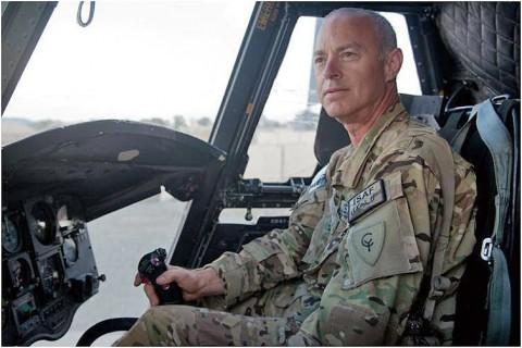 U.S. Army Chief Warrant Officer 2 Blaine Wyckoff, B Company, 3-238th, CH-47 Chinook helicopter pilot, a native of Akron, Ohio, who has worked in the aviation field as an enlistee 1972, rose to the rank of colonel and took an administrative reduction so that he could continue to fly, sits in the pilot's seat of a CH-47 Chinook helicopter at Forward Operating Base Salerno, Afghanistan, Oct. 20, 2012 (U.S. Army photo by Sgt. Duncan Brennan, 101st CAB PAO)