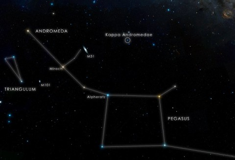 This chart locates the star Kappa Andromedae, which is visible to the unaided eye from suburban skies. (Credit: NASA's Goddard Space Flight Center/DSS)
