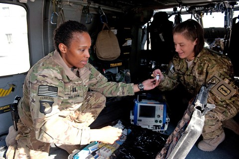 U.S. Army Capt. Nicole Nelson, 30th Medical Brigade, Task Force Med-A, attached to C Company, 6th Battalion, 101st Combat Aviation Brigade, Task Force Shadow, Enroute Critical Care Nurse, a native of Chicago and U.S. Army Capt. Julie Duffy, 30th Medical Brigade, TF Med-A, attached to C 6-101 CAB, TF Shadow, Enroute Critical Care Nurse, a native of Williamstown, Ky., conduct a joint inventory of medical supplies aboard an HH-60M Black Hawk helicopter during pre-flight checks on Nov. 8, 2012 at Bagram Airfield, Afghanistan. (U.S. Army photo by Sgt. Duncan Brennan 101st CAB PAO)