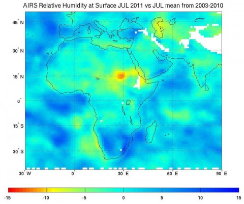Scientists used observations from two NASA satellite instruments, including relative humidity data similar to these, from the Atmospheric Infrared Sounder (AIRS) instrument on NASA's Aqua spacecraft, to analyze how well leading global climate models reproduce observed relative humidity in Earth's tropics and subtropics. The AIRS surface relative humidity data shown here are representative only and are not from the study. Areas shown in reds and yellows are the driest; blue areas the moistest. (Image credit: NASA/JPL-Caltech)