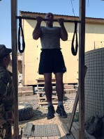 "U.S. Army Sgt. 1st Class Danny Chappell, platoon sergeant for 3rd Platoon, Company A, 3rd Battalion,187th Infantry Regiment, 3rd Brigade Combat Team ""Rakkasans,"" 101st Airborne Division (Air Assault), completes the pull-up event at Combat Outpost Chergotaw, Nov. 1st, 2012. The Angel Rak Competition is a test that identifies the strongest and most physically fit squads in the Company. (U.S. Army photo by Capt. Erik Alfsen, 3-187th Chaplain)"