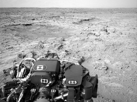 NASA's Mars rover Curiosity drove 83 feet eastward during the 102nd Martian day, or sol, of the mission (Nov. 18th, 2012), and used its left navigation camera to record this view ahead at the end of the drive. (Image credit: NASA/JPL-Caltech)
