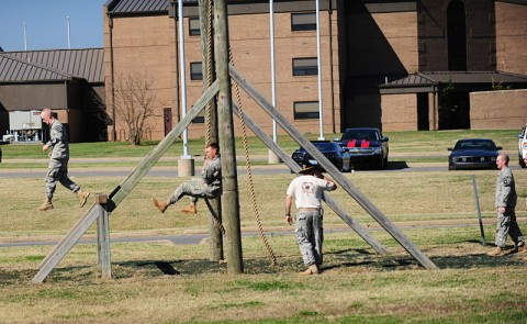 "Trying to earn the coveted spurs of a Cavalry ""Trooper"", Soldiers with 1st Squadron, 61st Cavalry Regiment, 4th Brigade Combat Team, 101st Airborne Division, negotiate the Swing, Stop and Jump obstacle during a Spur Ride, Oct. 24 to 25, 2012, as a Spur Holder observes them at Fort Campbell, Ky. (U.S. Army photo by Staff Sgt. Todd A. Christopherson, 4th Brigade Combat Team Public Affairs)"