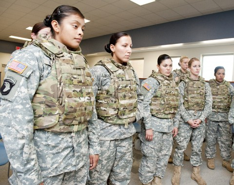 Members of the 101st Airborne Division's 1st Brigade will be the first to test the new female body armor, which was named one of Time Magazine's best inventions of 2012, in Afghanistan. (Photo by David Kamm, NSRDEC Photographer)
