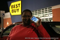 Tya Jackson outside Best Buy with her new phone