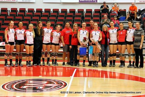 Austin Peay Lady Govs Volleyball Senior Night for Nikki Doyle (left) and Alex Sain (right).