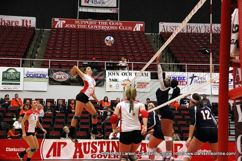 APSU's Lauren Henderson goes up to hit one of her 13 kills against the UT Martin Skyhawks.