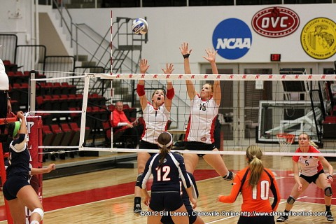 APSU Lady Govs Cami Fields (left) and Hillary Plybon (right) go up to block a Skyhawks shot.