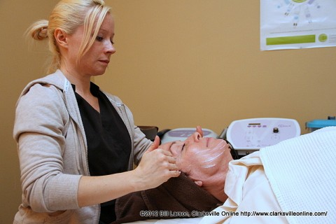 Patti Dobbs gets a Mini-Facial at the Survivor's Spa Day at Miller-Motte Technical College