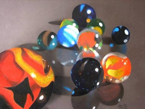 Marbles Drawing - Leandria Edwards, Grade 12, Station Camp High School, Art Teacher: Blake Long