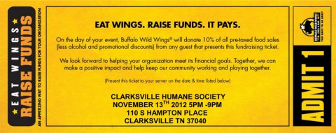 Eat at Buffalo Wild Wings and help raise money for the Humane Society of Clarksville-Montgomery County.