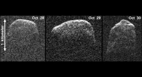 This composite image of asteroid 2007 PA8 was obtained using data taken by NASA's 230-foot-wide (70-meter) Deep Space Network antenna at Goldstone, Calif. The composite incorporates images generated from data collected at Goldstone on October 28th, 29th, and 30th, 2012. (Image credit: NASA/JPL-Caltech/Gemini)