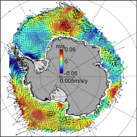 Trends in Antarctic sea ice motion over the 19-year study period are shown by the arrows, in meters per second per year. The background colors show the change in northward ice speed, with reds being fastest and blues slowest. The image highlights the tremendous variability in wind-driven ice drift around the Antarctic continent. (Image credit: NASA/JPL-Caltech/British Antarctic Survey)