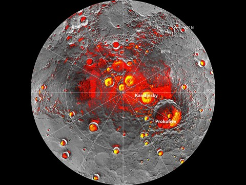 Mercury's north pole. Red denotes areas that are in shadow in all images acquired by MESSENGER to date. (The mapping of shadows is still incomplete near the pole.) Yellow shows the locations of bright polar deposits imaged by Earth-based radar. Updated from N. L. Chabot et al., Journal of Geophysical Research, 117. (Image Credit: NASA/Johns Hopkins University Applied Physics Laboratory/Carnegie Institution of Washington/National Astronomy and Ionosphere Center, Arecibo Observatory)