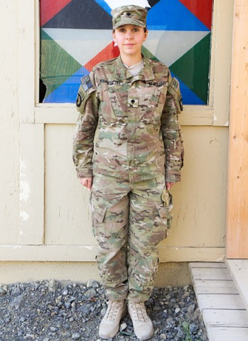 "Spc. Erika Espeseth, a Madison, WI, native, is a chaplain's assistant with the 3rd Special Troops Battalion, 3rd Brigade Combat Team ""Rakkasans,"" 101st Airborne Division (Air Assault), and serves her country by providing ministry support as a member of a religious support team at Forward Operating Base Salerno, Afghanistan. Espeseth carries her patriotism pridefully while combining it with her passion for God. (U.S. Army Photo by Sgt. 1st Class Abram Pinnington, TF 3/101 PAO)"