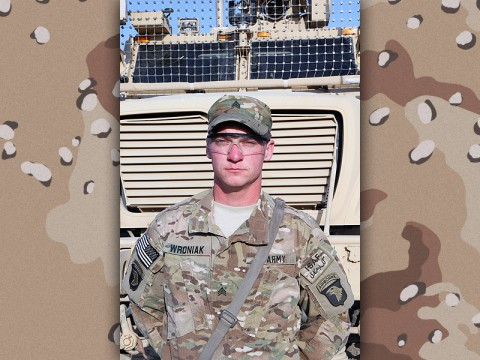 "Sgt. Joseph Wroniak, a Middleton, CT, native, and infantry team leader assigned to ""Choppin'"" Company, 3rd Battalion, 187th Infantry Regiment, 3rd Brigade Combat Team, 101st Airborne Division (Air Assault), is deployed to Afghanistan in support of Operation Enduring Freedom. Wroniak is currently stationed at Forward Operation Base Salerno, a U.S.-led base in eastern Afghanistan. (U.S. Army Photo by: Sgt. 1st Class Abram Pinnington, TF 3/101 Public Affairs)"