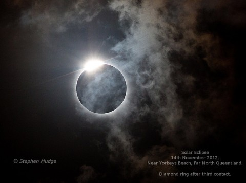 The total eclipse of November 14th, 2012, seen through clouds over Yorkeys Beach in Queensland, Australia. (Credit and copyright: Stephen Mudge)