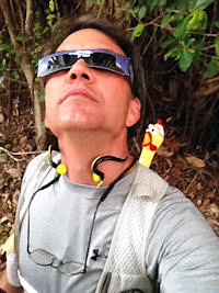 """Watch out for that tree!"" (Running a marathon through the rain forest while wearing eclipse glasses.)"