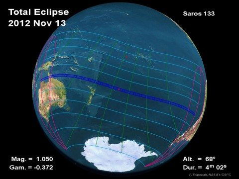 On November 13th/14th, 2012, the path of totality crosses the northeast coast of Australia.