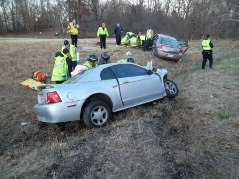 2007 Chevy Impala and 1999 Ford Mustang involved in an early Sunday morning collision, November 24th. (Photo by CPD-Chris Robinson)