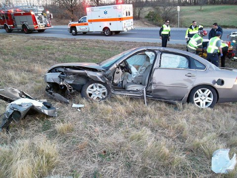 The 2007 Chevy Impala involved in a collision with a 1999 Ford Mustang Sunday morning, November 24th. (Photo by CPD-Chris Robinson)