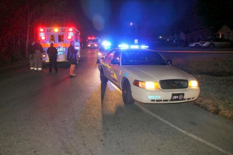 Clarksville Police at the scene of a shooting where a 15 year old boy was shot in the head.