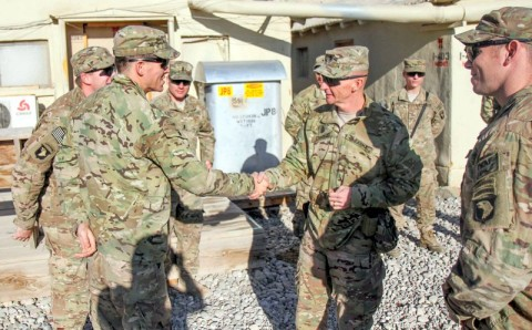 "Command Sgt. Maj. Eric Crabtree, Command Sgt. Maj., 3rd Brigade Combat Team ""Rakkasans,"" 101st Airborne Division (Air Assault), visits Soldiers of Headquarters Company, 1st Battalion, 187th Infantry Regiment, at Forward Operating Base Gardez to ensure the morale and welfare of his Brigade's Soldiers during the holiday season, Dec. 25, 2012. (U.S. Army photo by Sgt. 1st Class Abram Pinnington, TF 3/101 Public Affairs)"