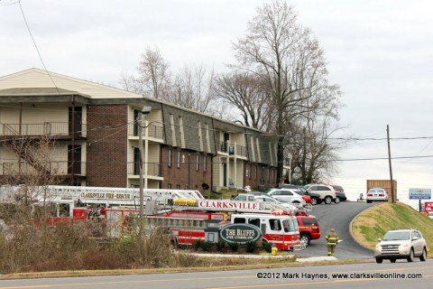 Clarksville Fire Rescue units respond to an apartment fire at The Bluffs apartment complex on Riverside Drive Thursday afternoon.