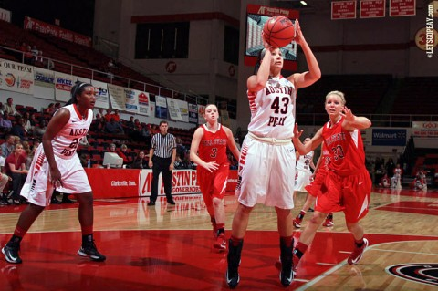 Austin Peay's Meghan Bussabarger scored 20 points in the Lady Govs victory over the Ball State Cardinals. (Courtesy: Brittney Sparn/APSU Sports Information)