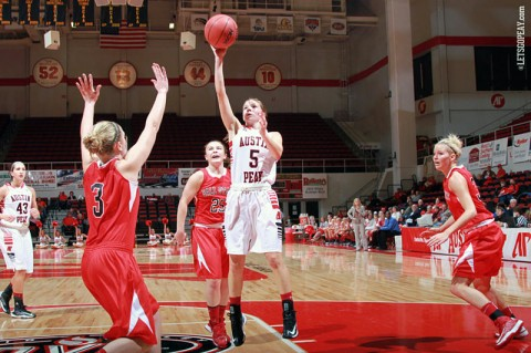 APSU Junior Nicole Olszewski scored a team-best 14 points in the Lady Govs loss at Middle Tennessee, Tuesday. (Courtesy: Brittney Sparn/APSU Sports Information)