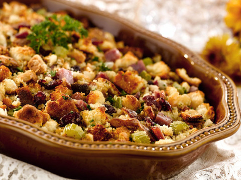 Classic Cornbread Dressing with Country Ham and Dried Fruit