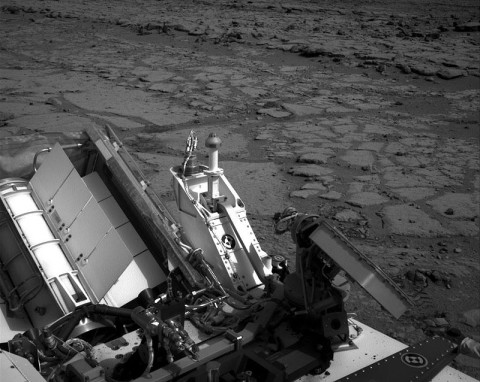 "The NASA Mars rover Curiosity used its left Navigation Camera to record this view of the step down into a shallow depression called ""Yellowknife Bay."" (Image credit: NASA/JPL-Caltech)"