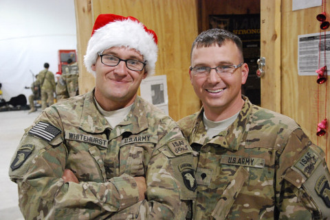 "Soldiers from 3rd Battalion, 187th Infantry Regiment, 3rd Brigade Combat Team ""Rakkasans,"" 101st Airborne Division (Air Assault), pose for a photo to show their holiday cheer. (Courtesy photo)"