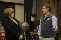 Montgomery County Mayor Carolyn Bowers speaks with Mason Boisseau from B. R. Miller Co. Inc. General Contractors