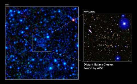 A galaxy cluster 7.7 billion light-years away has been discovered using infrared data from NASA's Wide-field Infrared Survey Explorer (WISE). (Image credit: NASA/JPL-Caltech/UCLA/WIYN/Subaru)