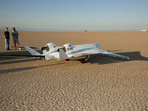 NASA and Boeing began test flights of the X-48C Blended Wing Body remotely piloted vehicle. (Image credit: NASA/Carla Thomas)