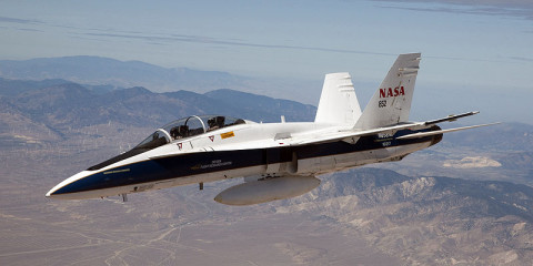 NASA's F/A-18B mission support aircraft 852 started flying a series of low-supersonic flight profiles in 2012. (Image credit: NASA/Jim Ross)