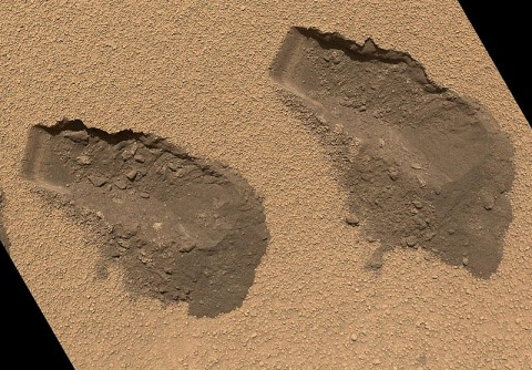 This is a view of the third (left) and fourth (right) trenches made by the 1.6-inch-wide (4-centimeter-wide) scoop on NASA's Mars rover Curiosity in October 2012. (Image credit: NASA/JPL-Caltech/MSSS)