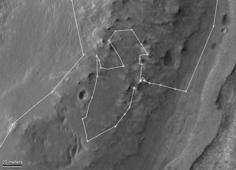 "This map shows the route driven by NASA's Mars Exploration Rover Opportunity during a reconnaissance circuit around an area of interest called ""Matijevic Hill"" on the rim of a large crater. (Image credit: NASA/JPL-Caltech/University of Arizona)"